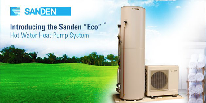 Sanden Eco CO2 Hot Water heat pump COP 5 most efficient Japanese Australia