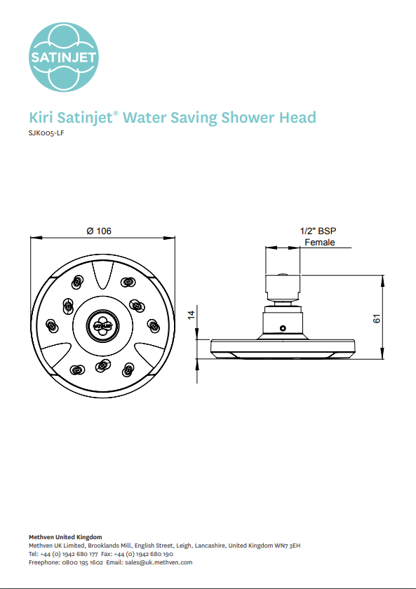 Methven Kiri Satinjet Ultra Low Flow shower head rose only technical drawing pdf