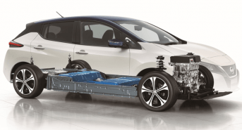 Nissan Leaf X-ray view with drive train and large 60kWh battery