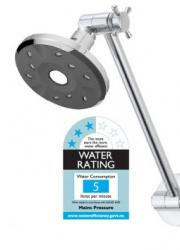 Methven Kiri Satinjet Ultra Low Flow shower head Conventional Dual Pivot Arm