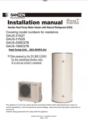Sanden Eco PLUS Installation Manual
